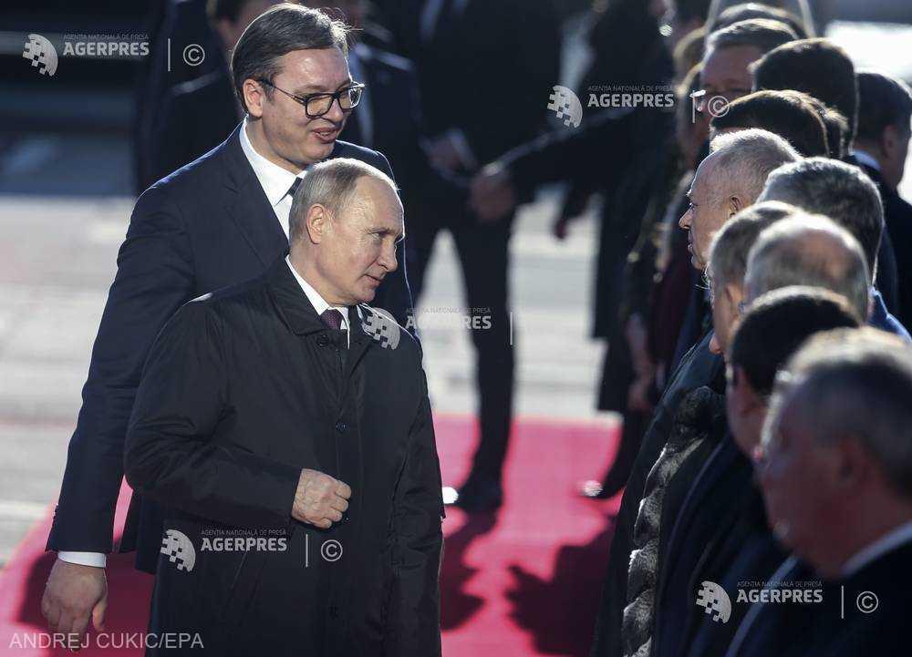 Primire triumfală la Belgrad pentru preşedintele Putin
