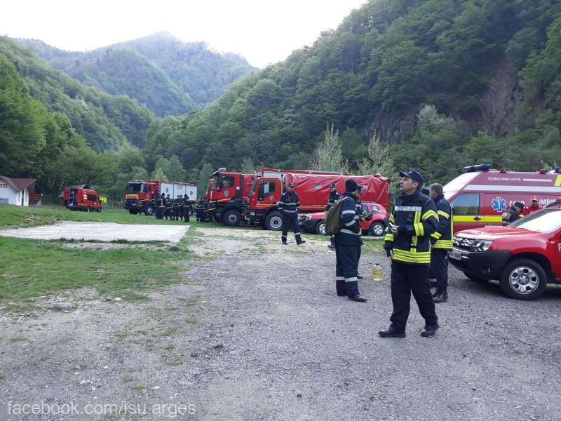 Argeş: Intervenţia pentru stingerea incendiului de lângă cetatea Poenari continuă atât la sol, cât şi cu elicopterele